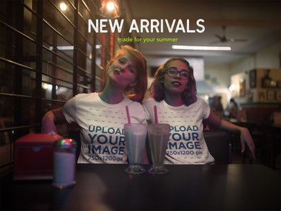 Facebook Ad - Two Friends at a Restaurant Wearing T-Shirts a16418
