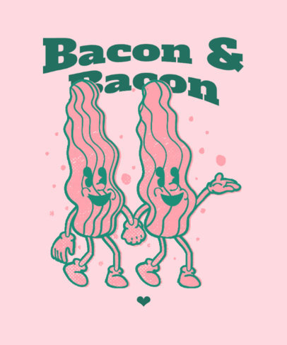 T-Shirt Design Template With a Junk Food Day Theme and Bacon Strips 3849c