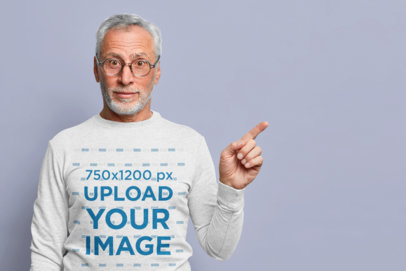 Long Sleeve Tee Mockup of a Senior Man Pointing His Finger m3341-r-el2