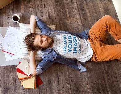 T-Shirt Mockup of an Interior Designer Taking a Break from Work 44908-r-el2