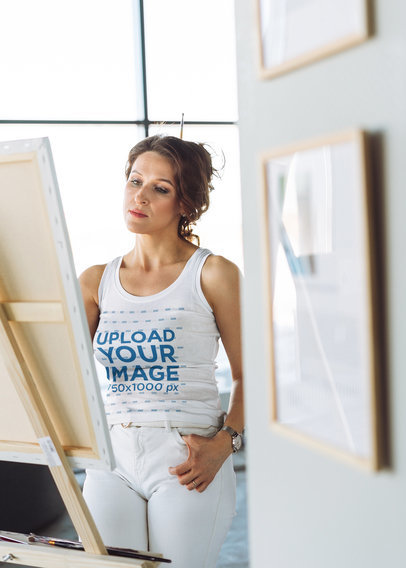 Tank Top Mockup Featuring a Woman Painting m7559-r-el2