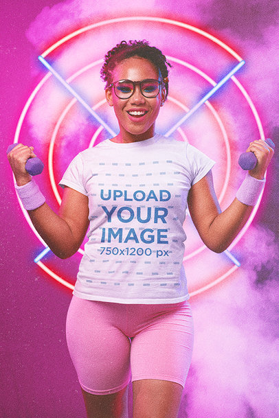 T-Shirt Mockup of a Woman in an 80's Outfit Doing Cardio with Dumbbells m11200