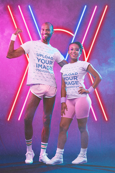 80s-Styled T-Shirt Mockup Featuring a Man and a Woman Posing m11198