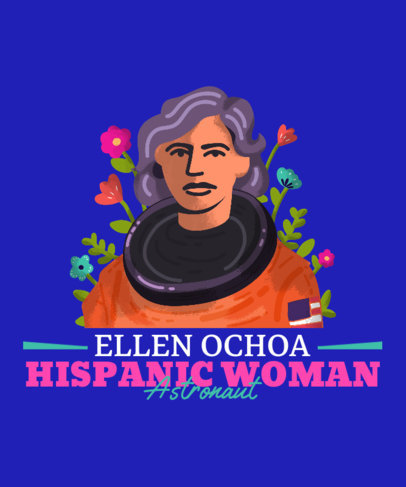 Illustrated T-Shirt Design Maker Featuring the First Hispanic Female Astronaut 3857c