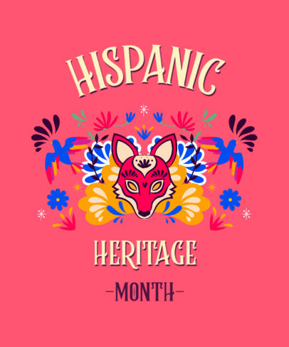 T-Shirt Design Creator for Hispanic Heritage Month Featuring Colorful Graphics 3858b