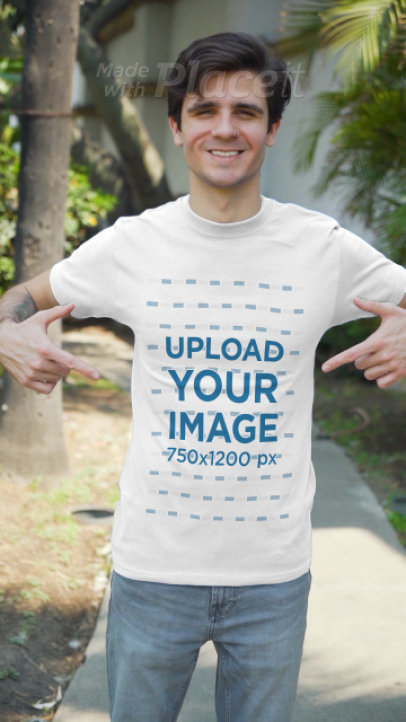 T-Shirt Video of a Man with an Arm Tattoo and a Nose Ring 3607v