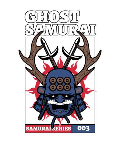 Illustrated T-Shirt Design Template Featuring a Samurai With a Kabuto Helmet 4179c-el1