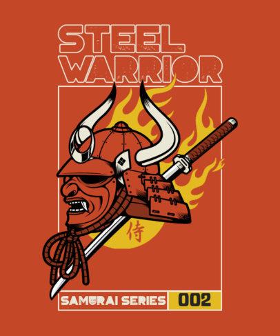 T-Shirt Design Maker Featuring a Samurai Mask Clipart and Flame Graphics 4179d-el1