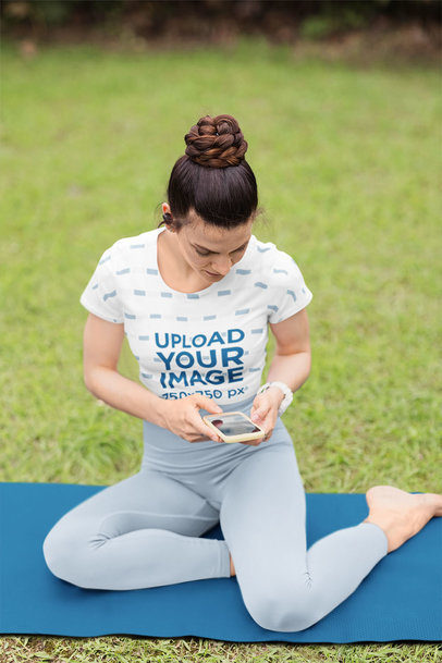 Sublimated Crop Top Mockup of a Woman Checking Her Phone Before Yoga Class m10715-r-el2