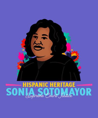 T-Shirt Design Creator Featuring a Sonia Sotomayor Illustrated Portrait 3857e