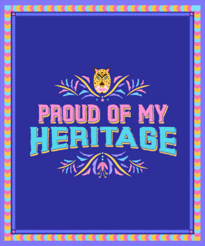 T-Shirt Design Template Featuring a Hispanic Heritage Month Theme and a Frame 3859d