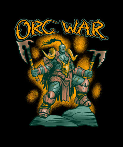 Gaming T-Shirt Design Template Featuring a Strong Orc Illustration 4501i