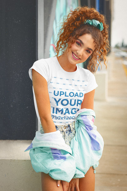T-Shirt Mockup of a Young Woman With a Retro Style m11590