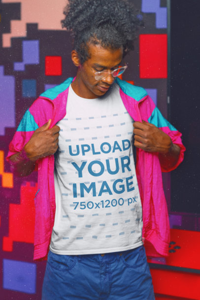 T-Shirt Mockup of a Serious Man Wearing 80s Style Garments m11609