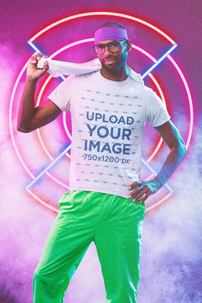 T-Shirt Mockup of a Man Wearing an '80s-Styled Activewear Attire m11193