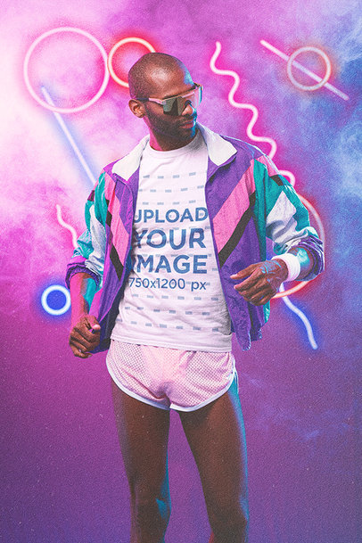 T-Shirt Mockup of a Cool Man Wearing Activewear From the '80s m11195