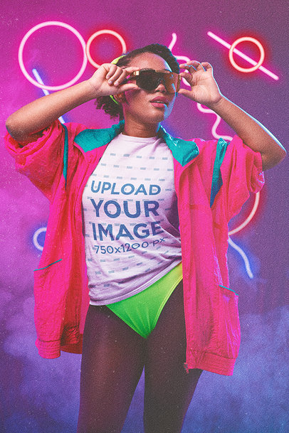 T-Shirt Mockup of a Woman Wearing an 80s-Inspired Outfit m11206