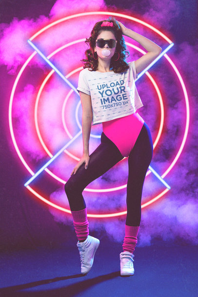 Mockup of a Woman Wearing a Crop Top in an 80s-Inspired Setting M11229