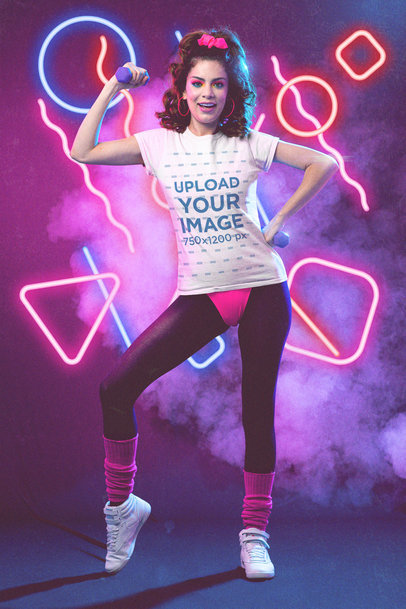 T-Shirt Mockup of a Woman Doing an 80s-Inspired Workout M11227