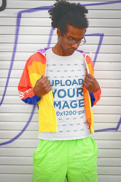 T-Shirt Mockup of a Man Wearing Bright Retro Clothes m11605