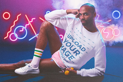 Sweatshirt Mockup Featuring a Man Wearing 80's-Styled Activewear m11197