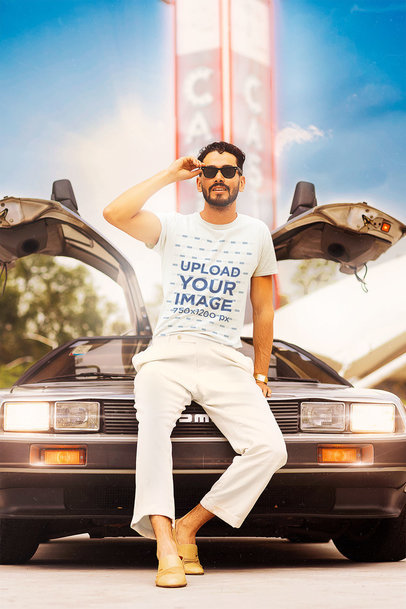 Retro-Themed T-Shirt Mockup of a Man Posing with a Cool Car m12012