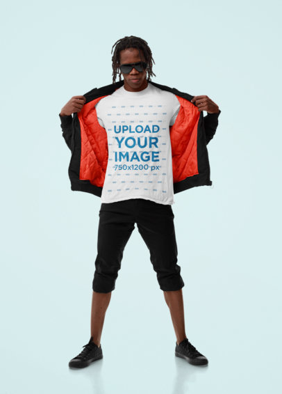 T-Shirt Mockup of a Man Showing Off His Athleisure Outfit M10772