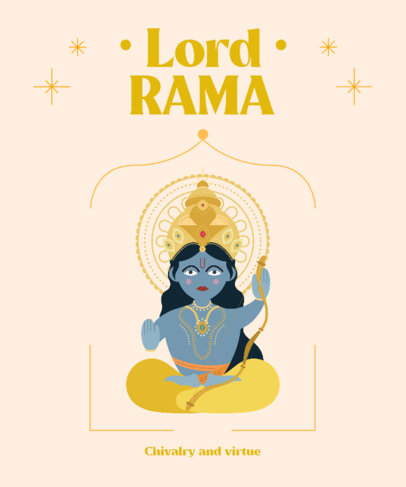 Hinduism Gods-Themed T-Shirt Design Creator Featuring Rama 3892g