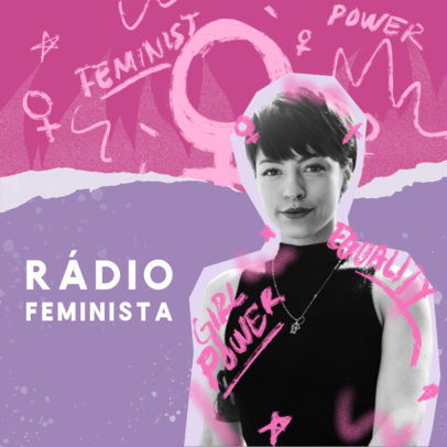 Podcast Cover Design Maker for a Feminist Show 4517c
