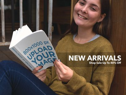 Facebook Ad - Smiling Girl Reading a Book Mockup a16570