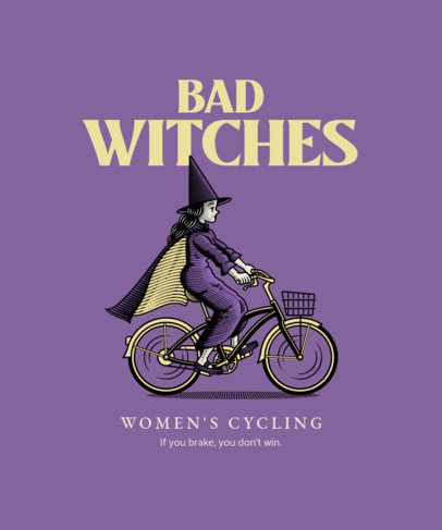 Illustrated T-Shirt Design Template Featuring a Witch on a Bicycle 4199a-el1
