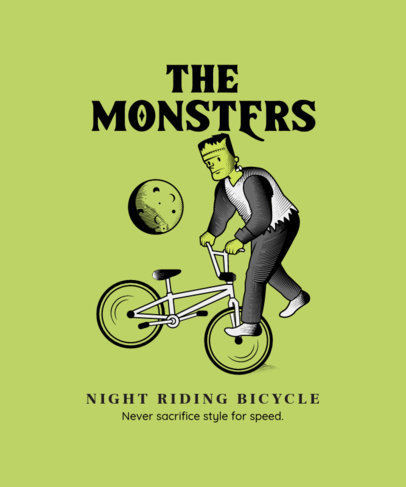 Illustrated T-Shirt Design Creator Featuring a Monster Doing a Bike Trick 4199c-el1