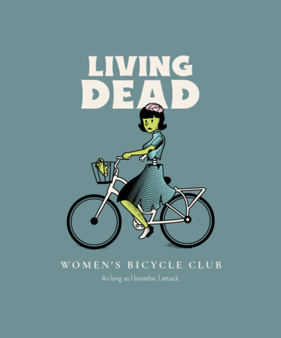 T-Shirt Design Generator Featuring a Female Zombie Riding a Bicycle 4199e-el1