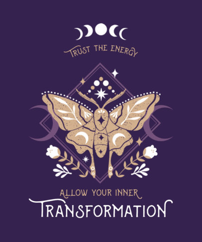 T-Shirt Design Creator Featuring a Quote on Transformation and a Moth Clipart 3885c