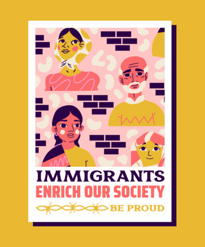 Illustrated T-Shirt Design Generator Featuring a Quote About Immigration 3882e
