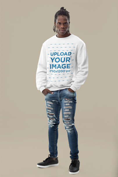 Sweatshirt Mockup of a Serious Man Posing With His Hands in His Pockets m10781