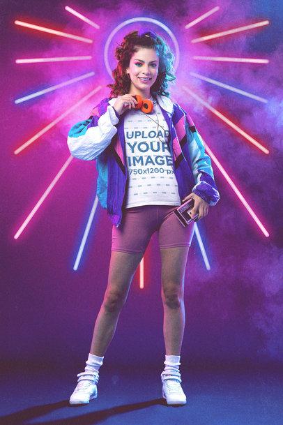 T-Shirt Mockup Featuring a Woman Wearing Retro Garments M11222