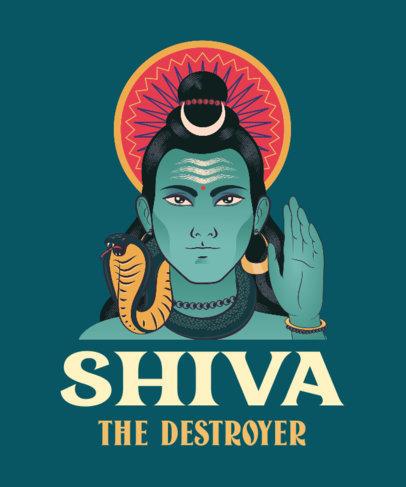 T-Shirt Design Maker Featuring a Shiva Illustration 3890c