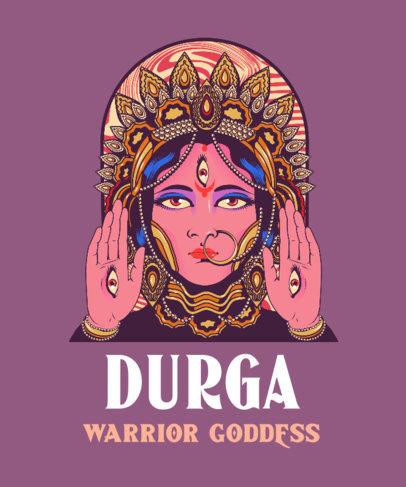Hinduism-Themed T-Shirt Design Creator With an Illustration of Durga 3890b