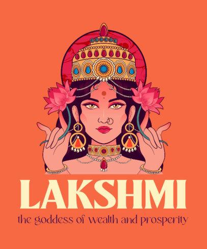 T-Shirt Design Maker Featuring an Illustration of Lakshmi 3890a