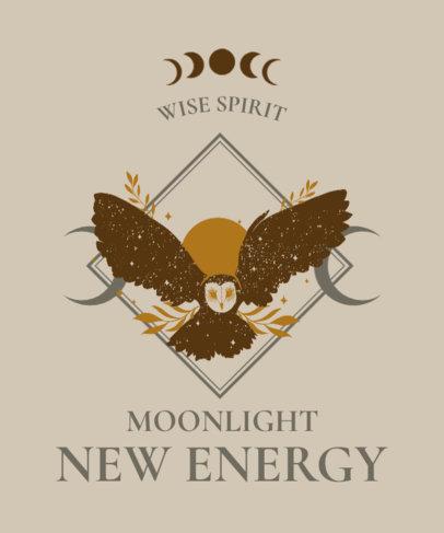 Mystical T-Shirt Design Creator Featuring an Owl Illustration 3885g