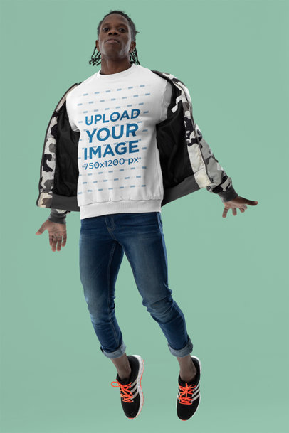 Sweatshirt Mockup Featuring a Serious Man in Midair m10783