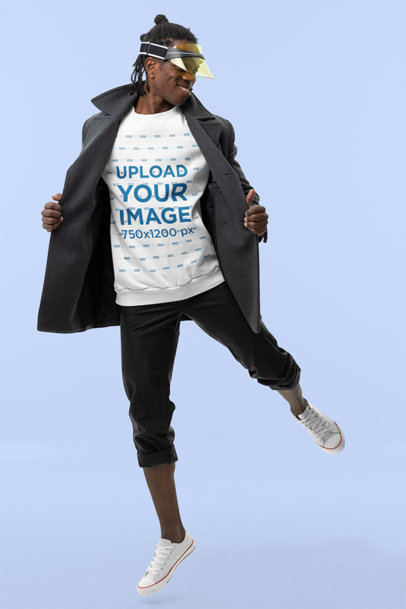 Sweatshirt Mockup of a Happy Man Posing with an Athleisure Outfit in a Studio m10785