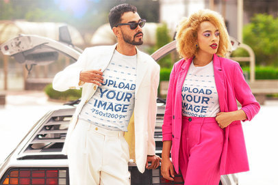 T-Shirt Mockup of a Man and a Woman with a Retro Vibe Inspired by Miami Vice m12031