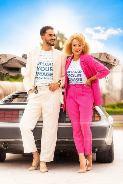 T-Shirt Mockup of a Cool Couple Posing by a Car in the '80s m12029