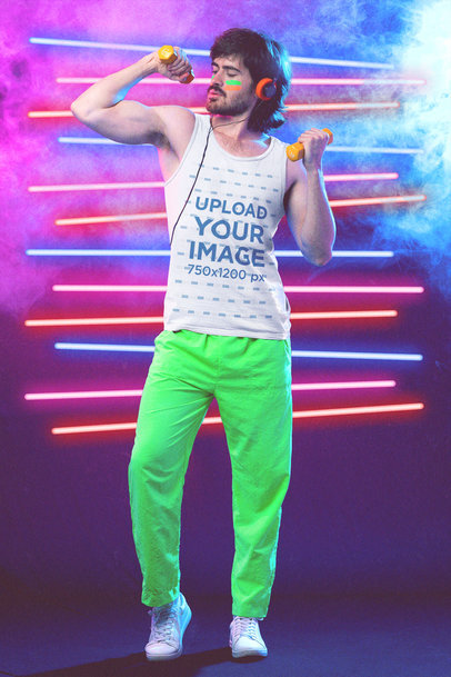 80s Styled Tank Top Mockup of a Man Showing Off His Workout Gains M11211