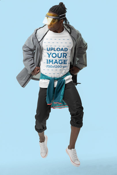 Dynamic Sweatshirt Mockup of a Man Jumping in an Athleisure Outfit m10787