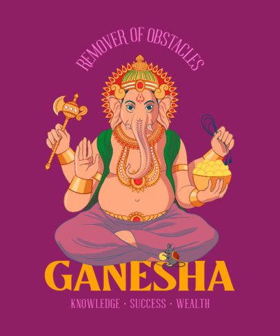 Hinduism T-Shirt Design Generator Featuring a Graphic of a Deity 3891c