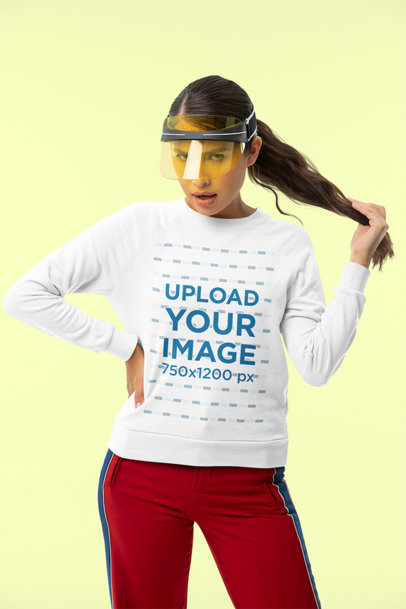 Sweatshirt Mockup of a Long-Haired Woman at a Studio m10759