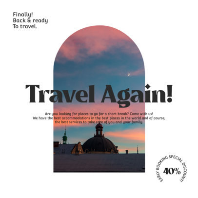 Instagram Post Creator with a Traveling Invitation and a Skyline Picture 4251B-el1